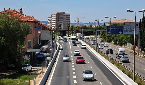 Vue de la section élargie à 2x3 voies, dans le cadre des premiers travaux provisoires.